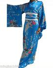 Japanese Kimono Peacock blue Vintage Yukata Gown Haori Costume Dress with Obi