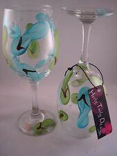 2 Hand-Painted Green and Aqua Blue Flip Flop Wine Glasses