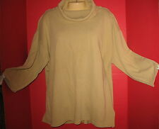 EXPRESS - BEIGE - POLY/COTTON - LONG SLEEVE - OVERSIZED TURTLENECK TOP - M