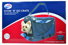 American Tourister Pet Collapsible Stow 'n Go Travel Crate BONUS Pouch & ID Tag