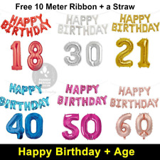 """16"""" Happy Birthday + 30"""" Age Number Foil Balloons Self-inflating Banner Baloons"""