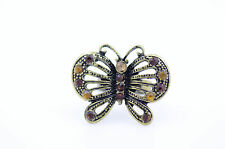 Art Déco bronce vintage recortado anillo mariposa con cristal