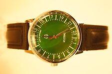Russian mechanical watch RAKETA QUALITY MARK 24H Green dial. 34 mm