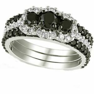 2 Ct Black and Simulated 10kt White Gold Three-Stone Bridal Set Ring