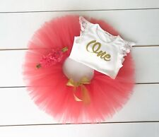 Coral & Gold Cake Smash Outfit 3 Piece First Birthday Set - Baby Girl Watermelon