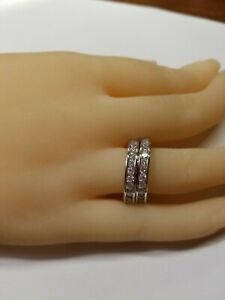 Sterling Silver Twin Bands With Channel Set Cubic Zirconia Sz 7