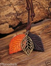 N234 Brown Trendy 3 Leaf Pendant Leather Cord Long Necklace Men Women NEW