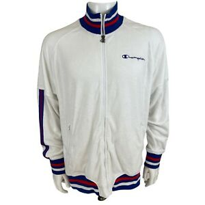 CHAMPION Terry Cloth Warm Up Jacket White Blue Red Retro Size L