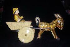 New ListingVintage Marx Donkey Mule Cart Tin Metal Wind Up Toy 1950's Works Great