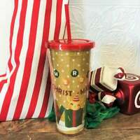 NEW Gold Glitter Holiday Christmas 2020 Acrylic Tumbler Starbucks Mug 19 oz
