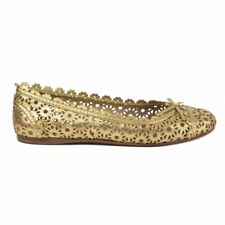 54683 auth ALAIA metallic gold leather Perforated Ballet Flats Shoes 37