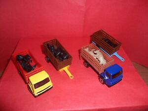 2 x Matchbox #71-Dodge Cattle Truck + 2 Trailers,Mixed Colours,Unboxed,1980/83.