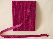 LGR15 Cerise : 5m x 10mm Velvet Lame Glitter Ribbon