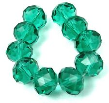 14x10mm Emerald Green Glass Quartz Faceted Rondelle Beads (10)