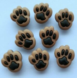 DOG PAWS Craft Buttons Puppy Animal Rescue Pet Paw Brown Novelty Dress It Up
