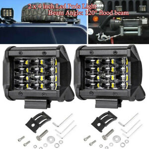 Pair 4INCH 72W Led Work Light Bar Flood Driving Fog Lamps For Offroad Truck SUV