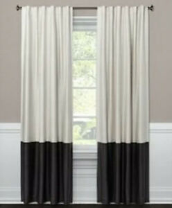 """Project 62 White & Gray 95"""" 99.9% Blackout Curtain One Panel Colorblock"""