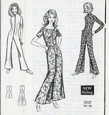 Vtg Mail Order Pattern 3317 Misses' Mod Hip Bell Bottom Jumpsuit Size 14 Unused