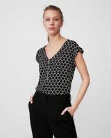 New Express Quatrefoil Print Zip Front Blouse Black Retail $44.90 XS,S, M, L NWT