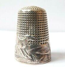 Dé à coudre argent ART NOUVEAU Fable de La Fontaine Loup Agneau silver thimble