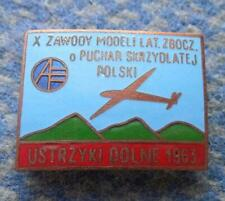 X th CONTEST GLIDING AIRCRAFT FLYING POLAND city USTRZYKI 1963 RARE PIN BADGE