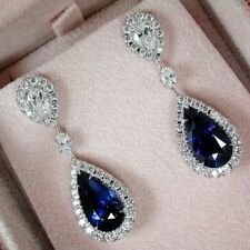 Pear Cut 25ct Blue Diamond With Solid 925 Sterling Silver Dangle Drop Earring