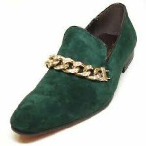 NWB FIESSO aurelio garcia SUEDE Shoe GREEN chain slip on loafer FI6788