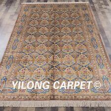 YILONG 6'x9' Handmade Silk Carpet Living Room Floral Area Rug L14A