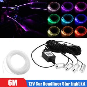 12V Car Headliner Star Light kit Roof Ceiling Lights Fiber Optic APP Control 6M
