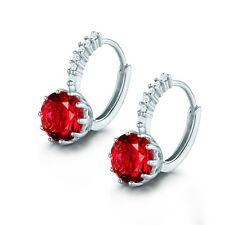 Eternity 18K White Gold Filled Round Shape Red Garnet Hoop Earrings