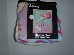"Ariel The Little Mermaid Princess Disney Dream Plush Throw Blanket 48"" X 60 2019"