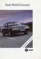 Saab 900 9000 Prospekt Mobil-Garantie Autoprospekt brochure broszura broschyr