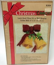 Vintage Christmas From Caron Latch Hook Kit Golden Bells Pillow Wall Hanging New