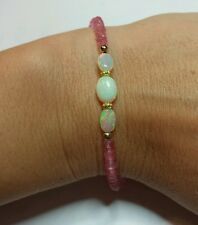 2ct Ethiopian fire opal 6mm and 3mm 8ctw pink Topaz solid 14k gold bracelet