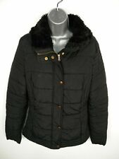 WOMENS NEW LOOK BLACK ZIP/BUTTON UP FAUX FUR COLLAR PADDED PUFFER JACKET UK 12