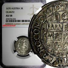 Austrian States OLMUTZ Karl II Silver 1670 3 Kreuzer NGC AU58 KM# 227.2