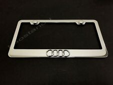 1x 4 RING LOGO 3D Emblem STAINLESS STEEL License Plate Frame + Screw Cap