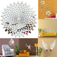3D Mirror Flower Decal Wall Sticker DIY Removable Art Home Room Decor 80 X 60cm