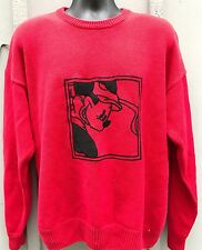 Vintage Mickey Mouse Golf Club Disney Mens Red Crewneck Sweater Embroidered XL