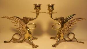 Antique Brass Gryphon Candlesticks. Victorian 19th C  (300)