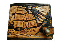 Men's Genuine Leather Wallet, Hand-Carved, Hand-Painted, Boat, Lighthouse, Ship