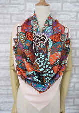 "NEW Light Pink Floral 100% Silk Twill Square Scarf 35"" SQ1196"