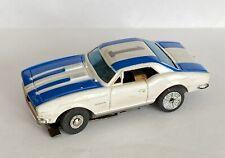 Vintage Aurora Slot Car XLerators White Blue Camaro Quadra-lam Chassis
