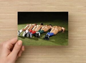 POSTCARD Print / Nude soccer players push-ups