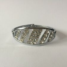 CLEAR SILVER ANTIQUE CUFF BANGLE BRACELET COSTUME JEWELLERY CRYSTAL NEW GIFT 2