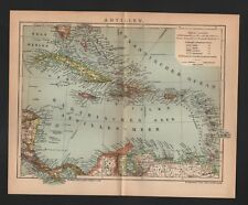 Mapa Map 1905: antillas. cuba puerto rico dominicana Rep. Haití Jamaica