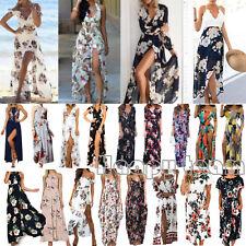 Womens Boho Floral Long Maxi Dress Evening Party Beach Summer Split Sundress AU
