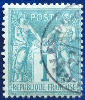 France oblitéré, n°61, 1c vert, Sage type 1, 1876