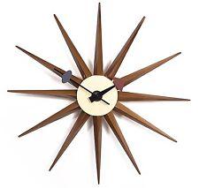 Handmade Sunburst Antique Retro Classic Mid-Century Clock, Walnut Color