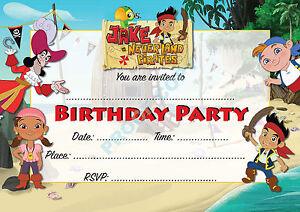 #29 PIRATE Pack of 10 Jake Neverland kids children birthday party INVITATIONS